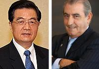 El presidente chino, Hu Jintao, y el presidente de Globalia, Juan José Hidalgo.