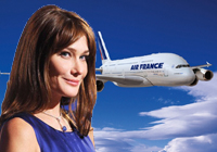 Carla Bruni vuela gratis en Air France