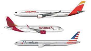 Nuevo logo de Iberia, American Airlines y Avianca
