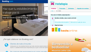 Booking.com, Bedsonline y Hotelopia