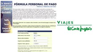 Viajes El Corte Inglés, pago aplazado