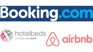 Booking, Hotelbeds y Airbnb