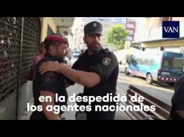 Gestos de tolerancia entre Mossos y Policía Nacional en Pineda